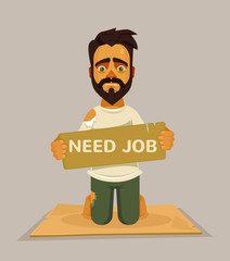 Unhappy homeless worker need job. Vector flat cartoon illustration