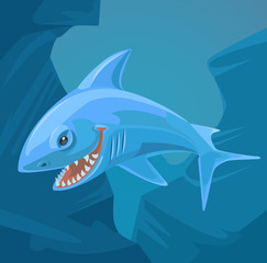 Shark character with sharp teeth. Vector flat cartoon illustration