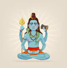 God Shiva character sitting in lotus position. Vector flat cartoon illustration