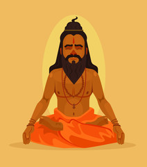 Meditating yogi man character. Vector flat cartoon illustration