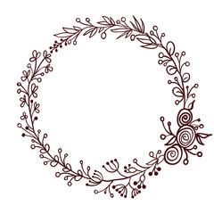 round frame of leaves isolated on white background. Vector illustration EPS10