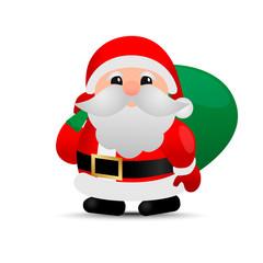 Merry christmas. Vector Santa Claus. sack
