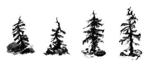 Set of grayscale curved mountain trees