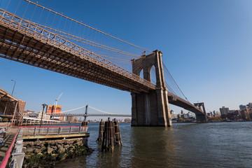 Brooklyn bridge with blue sky