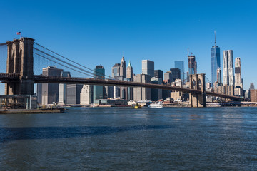 Brooklyn bridge and Skyscrapers in New York
