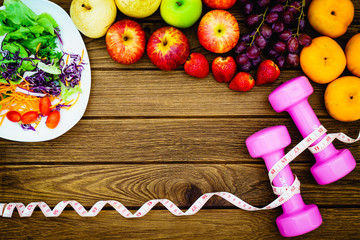 Fitness, healthy fruits, Fresh healthy salad, diet and active li