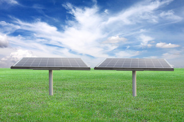 solar panel in outdoor on green lawn.