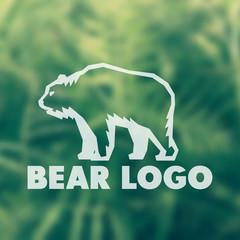 Bear logo element for national park, wildlife sanctuary, vector illustration