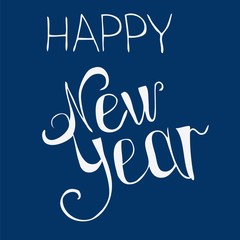 Simple happy new year written in white letters on a blue backgro
