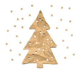 Christmas tree made of kraft paper on a white background