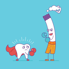 White tooth fighting or boxing with cigarette. Cartoon character