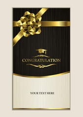 congratulating card-invitation card with golden ribbon. a pretty white and black card suitable for invitation ,congratulation especially for graduation from college.