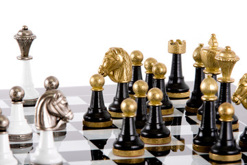 Chess pieces on the board on a white background