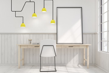 Home office interior with a futuristic lamp