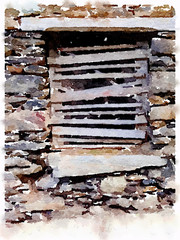 Digital watercolor painting of an old boarded up window, using wooden planks, set in a stone wall in Brazil