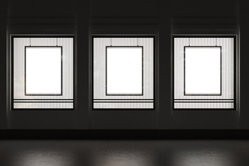 Shop window with three framed vertical posters on a black wall