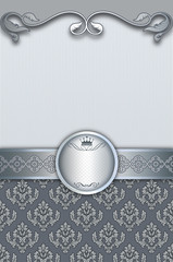 Wall Mural - Decorative silver background with frame and patterns.