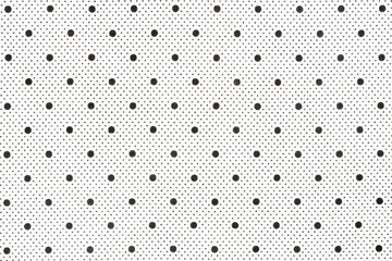 White fabric with black dots as background.