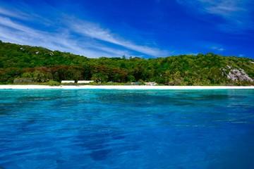 Blick zur Vogelinsel Aride, Seychellen