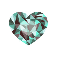 green-burgundy polygonal heart. a symbol of Valentine's Day - St