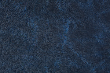 Texture of dark blue vintage leather on macro.