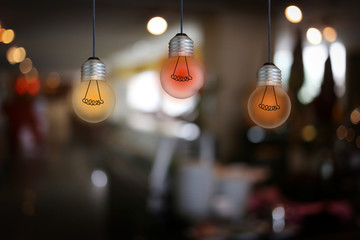 Vintage bulb lamps in a restaurant.
