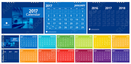 2017 calendar set include 12 months front cover and back cover 3