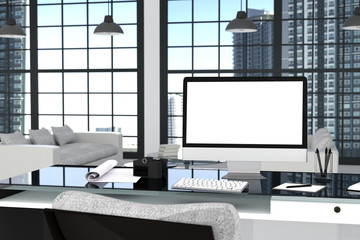 3D Rendering : illustration close up of Creative designer office desktop with blank computer,keyboard,camera,lamp and furniture on background with window and city view. clipping path include