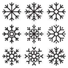 Nine vector snowflakes set on white background, winter icons silhouette, element for your holiday design projects