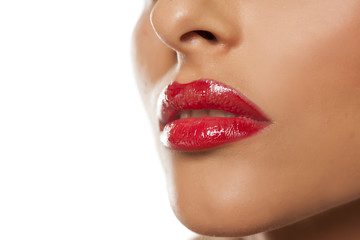 beautiful feminine lips with red lipstick