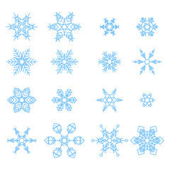 Set of snowflakes abstract isolation, winter element for design