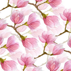 spring watercolor magnolia background. two layers of flowers and branches of magnolia tree.
