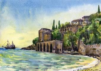 Naval dockyard in Alanya. Watercolor painting