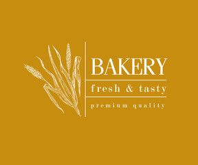 bakery vintage bread or beer logo with wheat