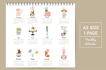 Colorful cute monthly calendar 2017 with whale,tree,monkey,cake