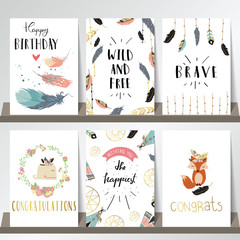 Card template collection for banners,Flyers,Placards with wreath,feather,fox,whale and arrow in boho style