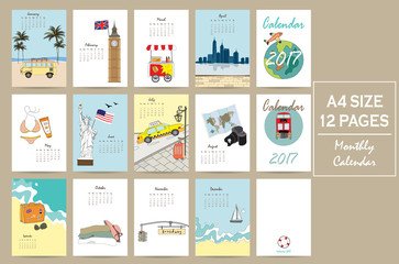 Colorful cute monthly calendar 2017 with bus,airplane,sea,camera