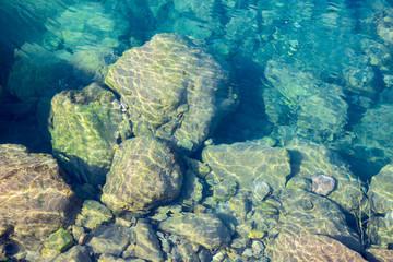 Wall Mural - Sea water blue texture background, underwater stones