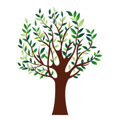 illustration of green tree, isolated nature symbol, vector