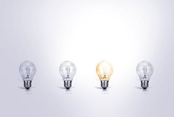 Outstanding creative idea background concept . one Light bulb gl