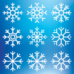 Nine white vector snowflakes set on blue mesh background, winter icons silhouette, element for your holiday design projects