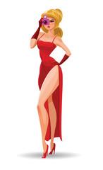 Super agent. Secret agent. Elegant woman spy in the evening red