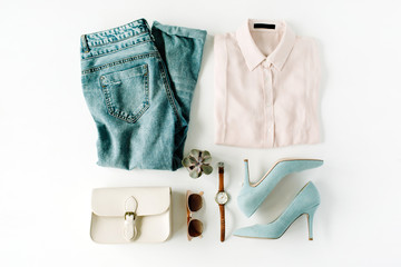 woman trendy fashion clothes collage on white, flat lay, top view