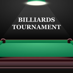 Billiards tournament background with green table, realistic design