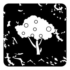 Tall fruit tree icon. Grunge illustration of tree vector icon for web design