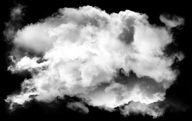 Single smoky cloud shape isolated over black background