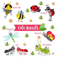 Cute Insects Animal cartoon on white background with animal name. Bee. Ant. Ladybird. Ladybug. Butterfly. Grasshopper. Dragonfly. Queen Bee. Vector illustration. Set 2.