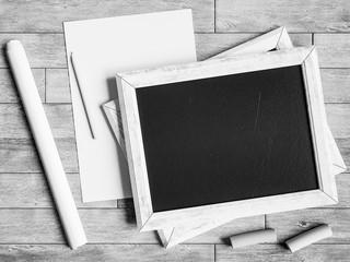 Black and white chalkboard. 3D illustratio
