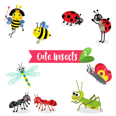 Cute Insects Animal cartoon on white background. Bee. Ant. Ladybird. Ladybug. Butterfly. Grasshopper. Dragonfly. Queen Bee. Vector illustration. Set 2.