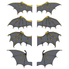 Set of dragon or bat wings in cartoon style isolated on white background. Vector illustration.